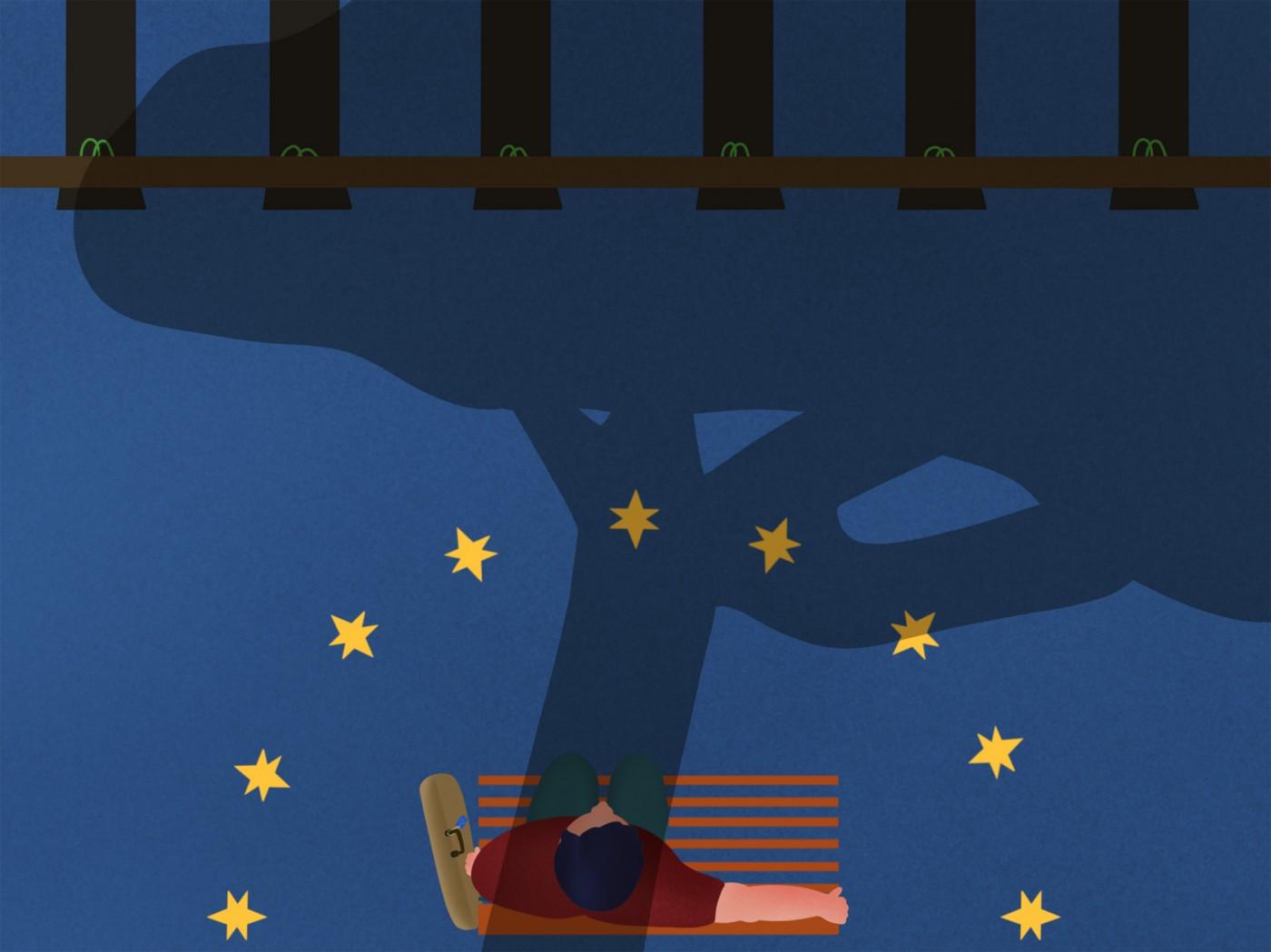 Greenrail, la sostenibilità e l'Europa in un'illustrazione dell'artista Burrnd