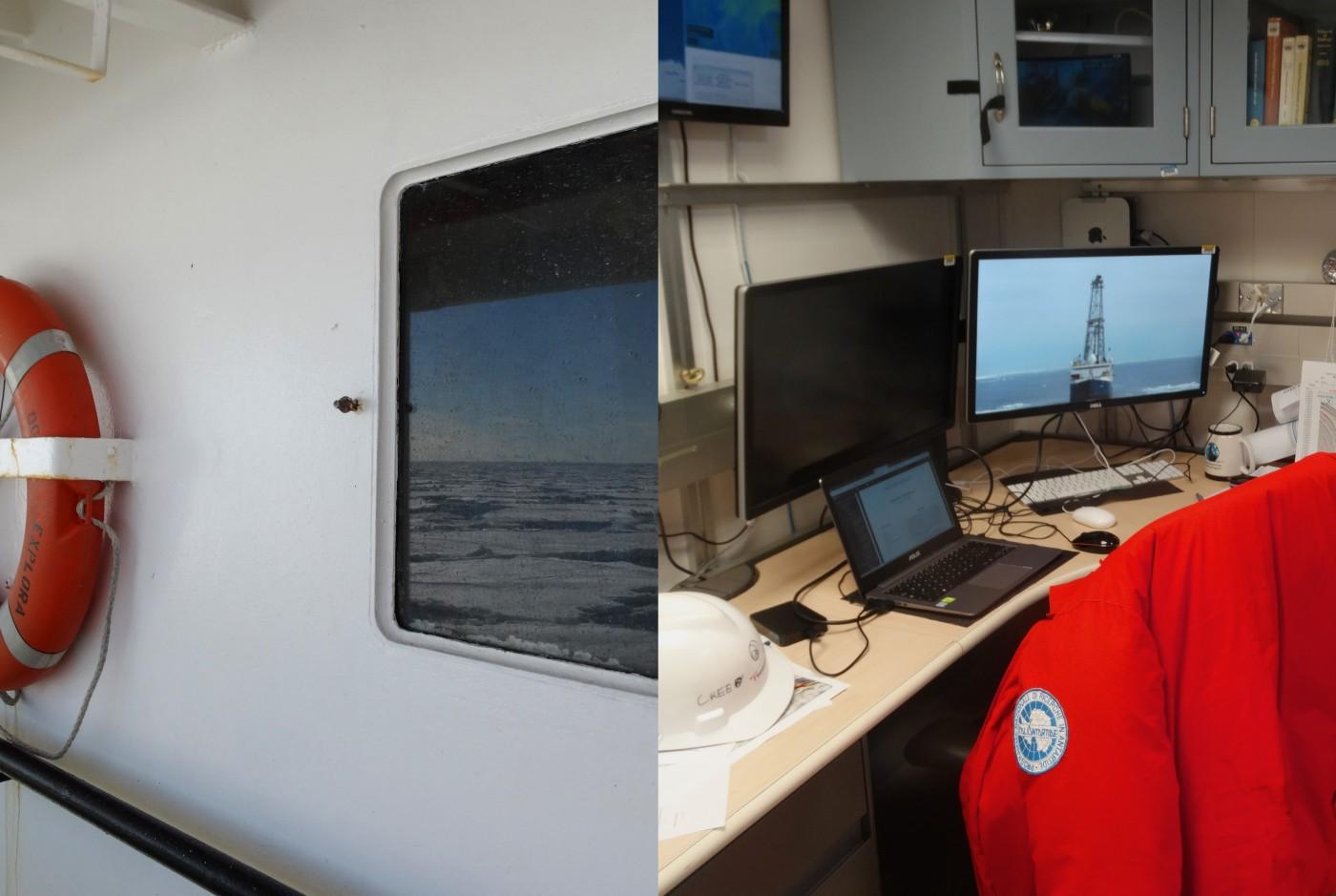Alcuni scatti a bordo della nave OGS Explora (a sinistra) e della Joides Resolution (a destra). Nel dettaglio, l'ufficio e la scrivania di Laura De Santis
